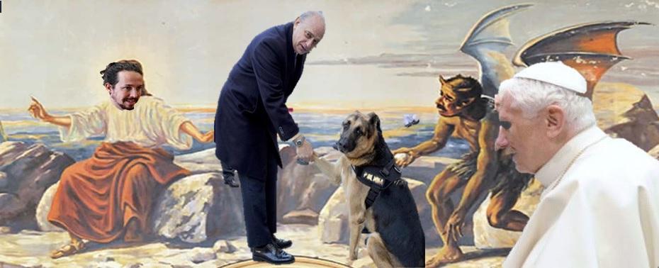 Fotomontaje con Pablo Iglesias, Fernández Díaz y el Papa Benedicto