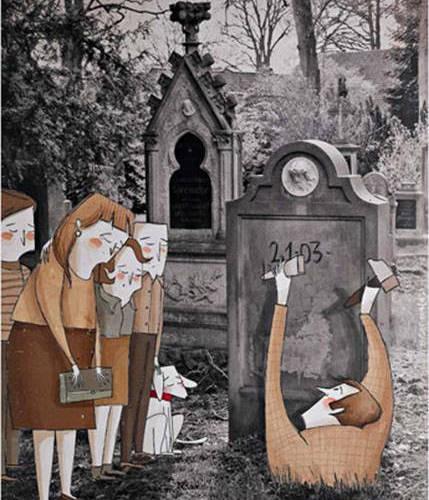 """Elige el día, ilustración de Roser Matas para la exposición """"La muerte, digna e ilustrada"""". Derechos cedidos a la asociación DMD."""