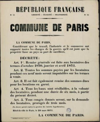 Bando del decreto de moratoria de alquileres y deudas del 29 de marzo de 1871. Fuente: http://bibliotheques.enseignementsup-recherche.gouv.fr/FR/tresors/0921867E/1/
