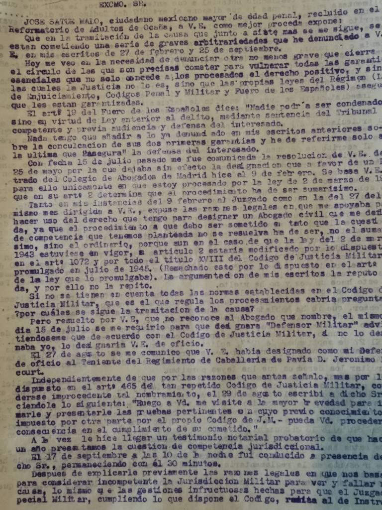 Escrito de Satué al Capitán Gral. de la Iª Región desde la cárcel de Ocaña (1948).