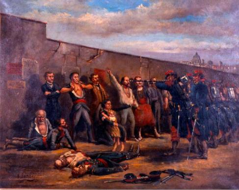 «Terminada la lucha, el ejército se transformó en un vasto pelotón de ejecución» (Lissagaray, 1876). Fuente:  http://www.museehistoirevivante.fr/collections/histoire-du-mouvement-ouvrier/la-commune-de-paris-de-1871-louise-michel-et-l-anarchisme
