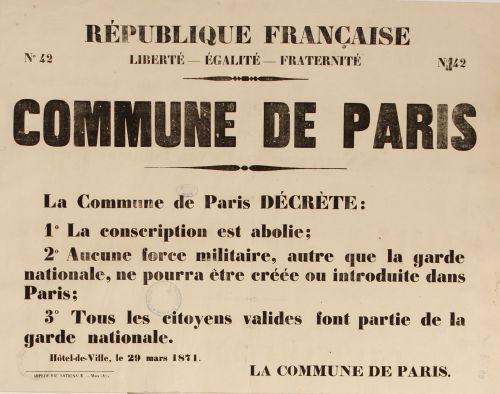 Bando del decreto de supresión del ejército permanente en París, http://archives.paris.fr/r/298/la-commune-de-paris-150-ans/