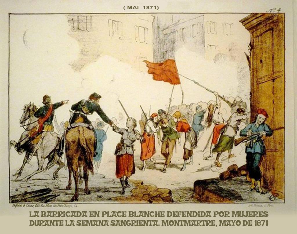 Barricada de la Place Blanche. Fernando Francisco Serrano a partir de  https://upload.wikimedia.org/wikipedia/commons/7/7b/Commune_de_Paris_barricade_Place_Blanche.jpg