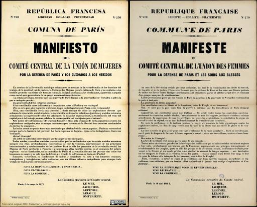 Manifiesto de la Unión de Mujeres para la Defensa de París. Fuente: http://grupgerminal.org/?q=node/1045