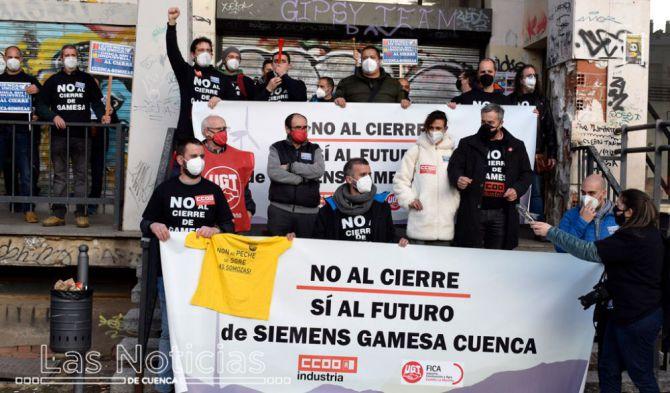 Movilización obrera en Siemens-Gamesa. Fuente: Las Noticias de Cuenca 11.02.21