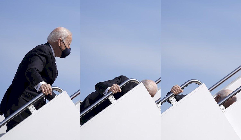 Caída de Joe Biden en las escaleras del Air Force One. Fuente: Diario Hoy