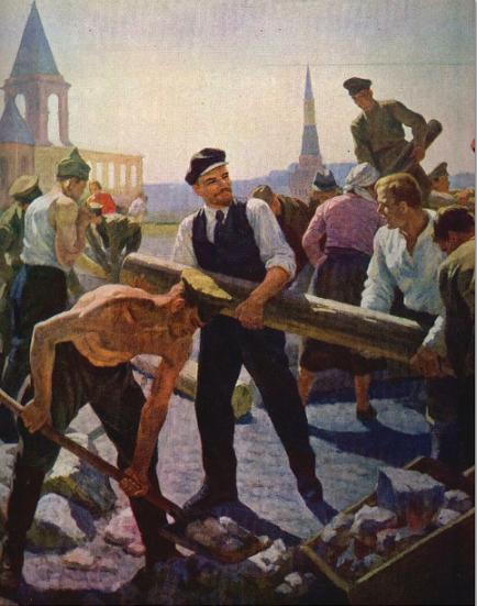 """Pintura de Vladímir Krijatski """"Lenin en el primer subbótniki"""""""