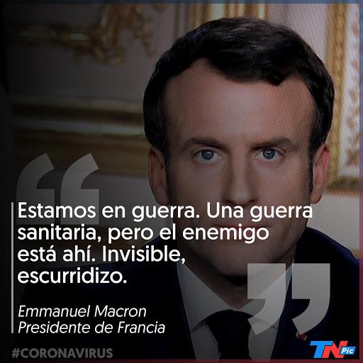 Macron anunciando el confinamiento general de Francia el 12 de marzo de 2020. Fotografía: AFP/Ludovic Marin. Fuente: TN
