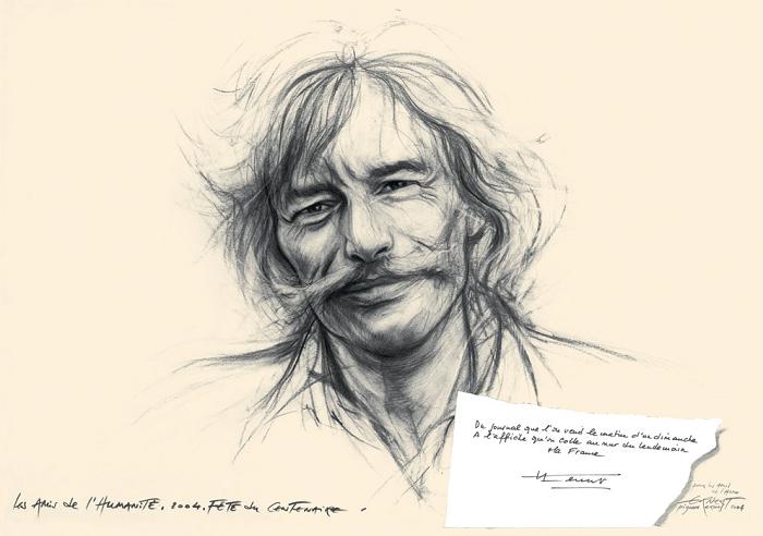Jean Ferrat retratado por Ernest Pignon