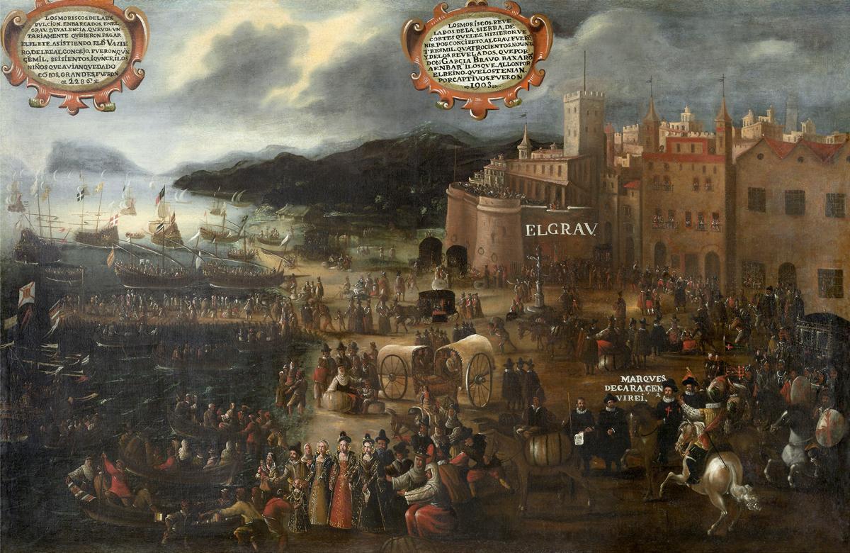 Embarque de moriscos en el Grao de Valencia, pintado en 1616 por Pere Oromig. Fuente Wikipedia