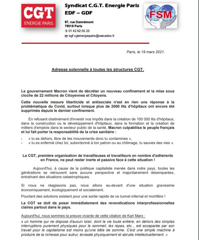 Llamamiento de la CGT de París de la CGT-energía