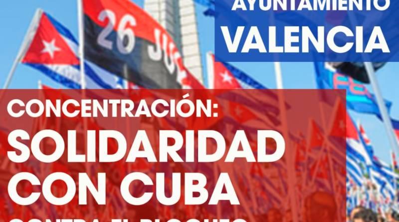 Cartel concentracion ayunt valencia contra bloqueo EEUU a Cuba 15 julio 2021