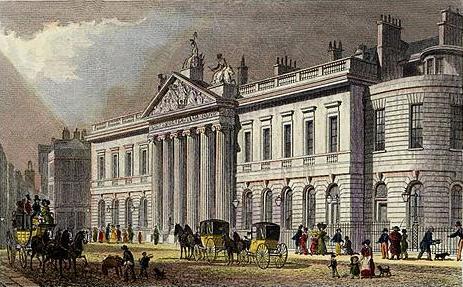 La Casa de las Indias Orientales, sede de la compañía en Londres. Acuarela sobre aguafuerte de Thomas Malton. Fuente: wikipedia