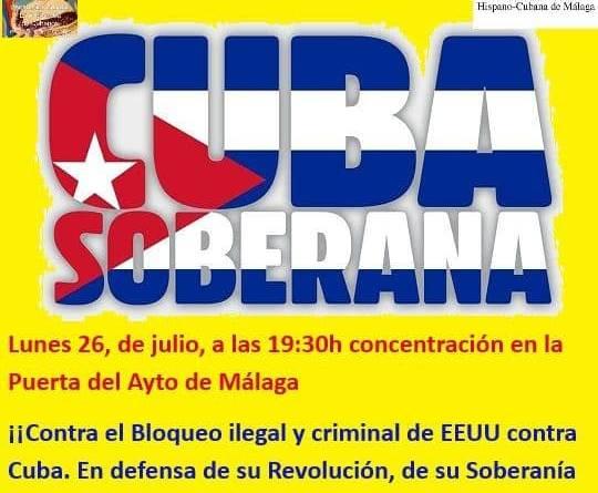 Concentración en Málaga contra el bloqueo a Cuba y en defensa de su Revolución